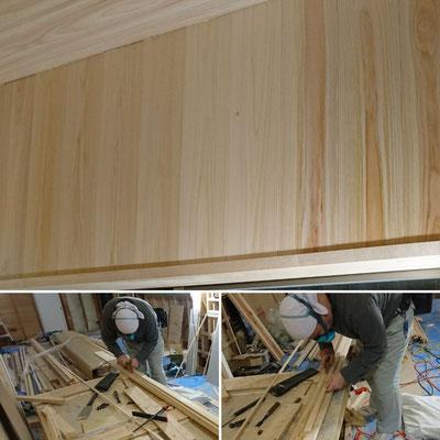G様邸改装工事_府産材桧上小壁及び樺窓枠設置完了