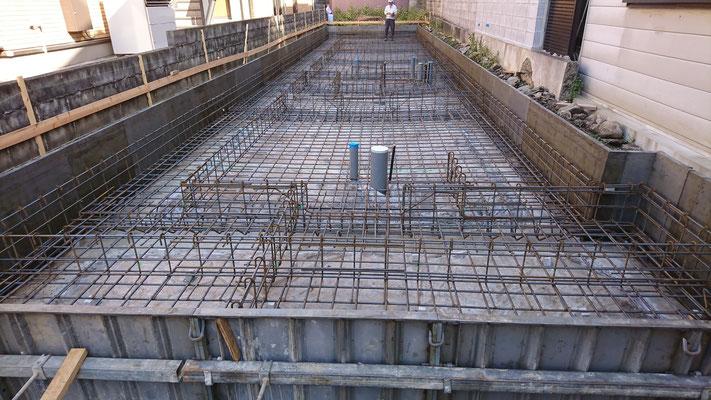 木のまちづくり事業_新築基礎工事配筋検査中