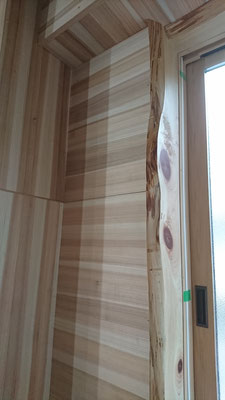 杉柾板と桧節板でオリジナル壁窓枠造作_府産材|羊毛断熱材|リノベーション|京都リフォーム工事|緑の工務店|タクミ建設株式会社