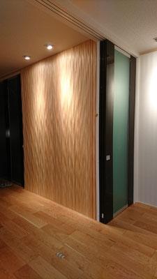 G様邸改装工事_桧デザイン壁と間接照明