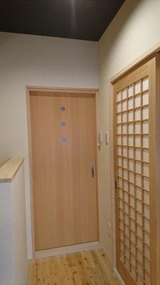 祇園改装工事_組子細工とマス格子の造作建具