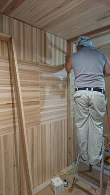 建具枠取付中_府産材|羊毛断熱材|リノベーション|京都リフォーム工事|緑の工務店|タクミ建設株式会社