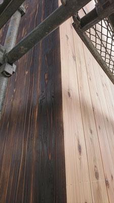 公募型木のまちづくり推進事業_北面焼杉及び西面杉板施工完了