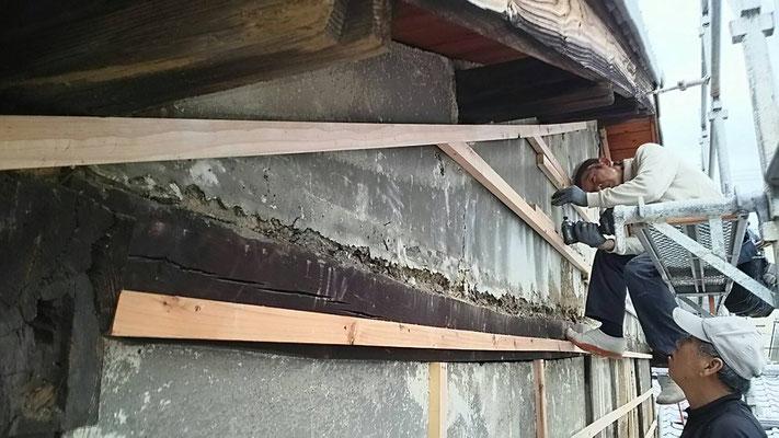 木もまちづくり事業_改装外部外壁下地施工中