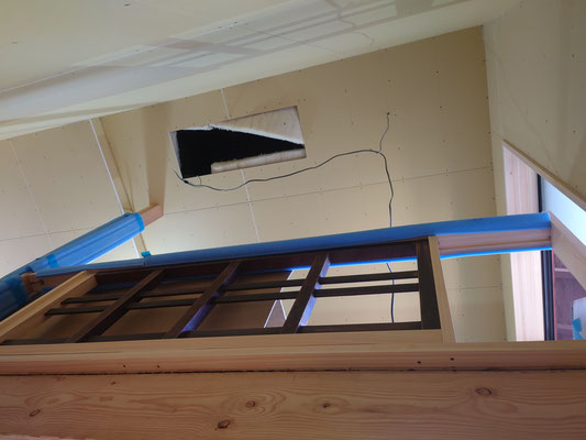 京町家改装工事_加工後の階段手摺取付
