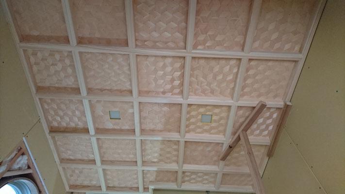 公募型木のまちづくり事業_新築:府産材桧で格天井と網代