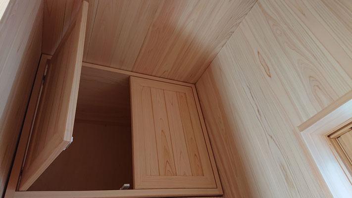 緑の木まち拡大事業:新築物件_木工事:トイレ収納桧上小