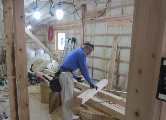 木もまちづくり事業_改装2F府産材による構造補強及び羊毛断熱完了