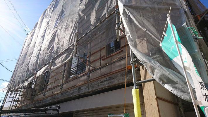 公募型木のまちづくり推進事業_外壁下地材施工中