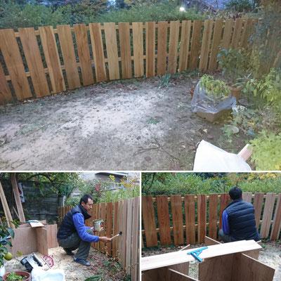 Y様邸外構工事_杉板による造作フェンス制作:オスモはオーナー様が塗りました(*^^*)
