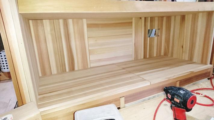 無垢材象嵌棒入りTVボード造作|府産材|羊毛断熱材|リノベーション|京都改装工事|緑の工務店|タクミ建設株式会社