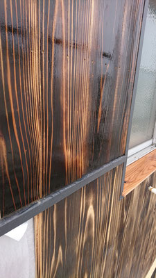 公募型木のまちづくり推進事業_外壁焼杉オスモクリアー施工前と施工後