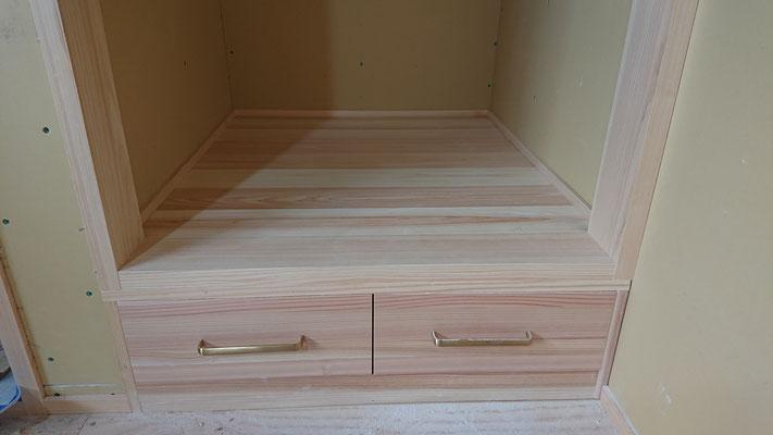 新築工事_和室無垢材引出し造作