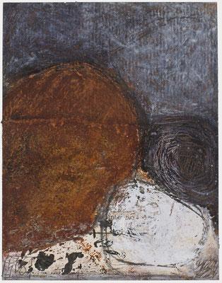 Poésie minéraleN°45  Pastel,  mine de plomb,,collage sur papier tabac Costa -Rica