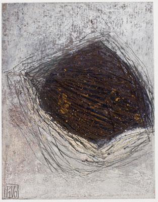 Poésie minérale N°42 Pastel, mine de plomb, collage sur papier tabac Costa-Rica