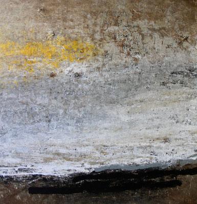 Trace jaune sur la pierre 100x100cm2020