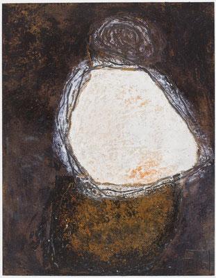 Poésie minérale N°39 Pastel, mine de plomb, collage sur papier tabac Costa-Rica