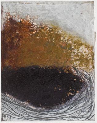 Poésie Minérale N°44 Pastel,  mine de plomb,,collage sur papier tabac Costa -Rica