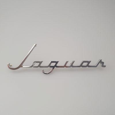 """Nachguss von Schriftzug """"Jaguar"""", Messing massiv, glänzend verchromt. - nachguss.de"""