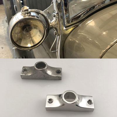 Original und Nachguss von Halterung für Suchscheinwerfer. Echte Handarbeit aus Messing mit glänzend verchromter Oberfläche. - nachguss.de