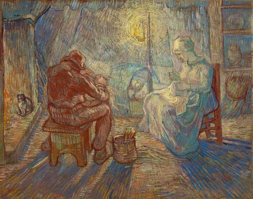 ②Vincent van Gogh : La veillée (d'après Jean -François Millet) 1889-Huile sur toile 74,2 x 93 cm Van Gogh Museum, Amsterdam (Vincent van Gogh Foundation), inv. s174V/1962 © Van Gogh Museum, Amsterdam (Vincent van Gogh Foundation)