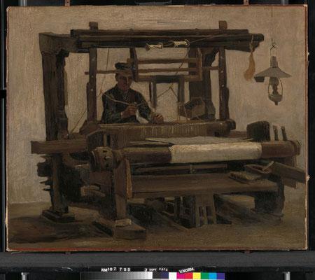 ⑤Vincent van Gogh : Métier à tisser avec tisserand 1884-Huile sur toile 68,3 x 84,2 cm Coll. Kröller-Müller Museum, Otterlo, inv. KM 107.755 © Stichting Kröller-Müller Museum
