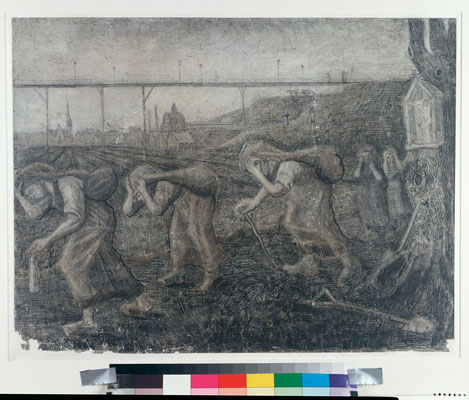 ⑦Vincent van Gogh : The Bearers of the Burden 1881-Dessin 47,5 x 63 cm Coll. Kröller-Müller Museum, Otterlo, inv. KM 122.865 recto © Stichting Kröller-Müller Museum