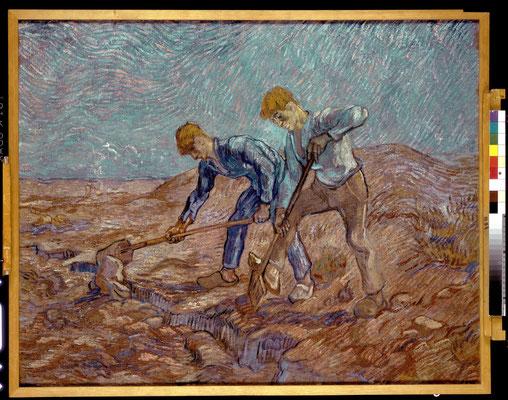 ④Vincent van Gogh : Les bêcheurs (d'après Jean-François Millet) 1889-Peinture à l'huile 72 x 93 cm. Collectie Stedelijk Museum Amsterdam, inv. A 411 © Collectie Stedelijk Museum Amsterdam
