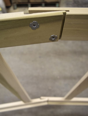 Detail of the folding brace joinery in a DoubWorks custom folding stretcher