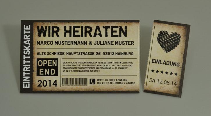 Einladungskarten Hochzeit als Ticket Eintrittskarte Einladung Karte Vintage mit Abriss- Perforation