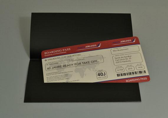 Tickettasche Einladungskarten Flugticket  Geburtstag  Ticket  Einladung  Karte Boarding Pass Partyairline