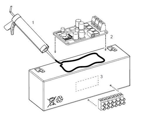 Die Elektrischen Komponenten werden auf den Akku geklebt. Anschließend wird alles in den Kanister geklebt.