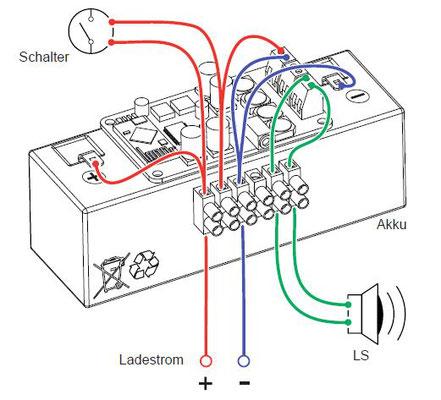Die Schaltung ist absichtlich sehr simpel gehalten, damit man den Stromfluss gut nachvollziehen kann.
