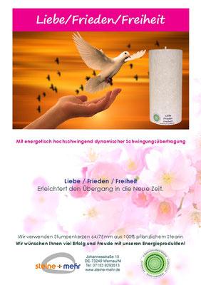 Liebe Frieden Freiheit Energiekerze