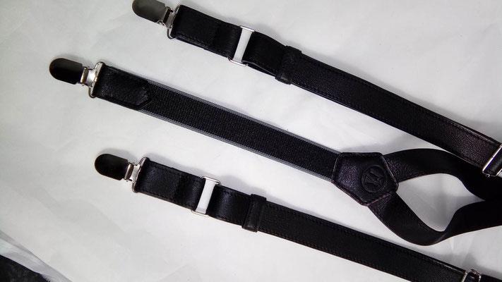 bretelles en cuir noir, bretelles homme,fabriqué en france, bretelles artisanales,travail du cuir