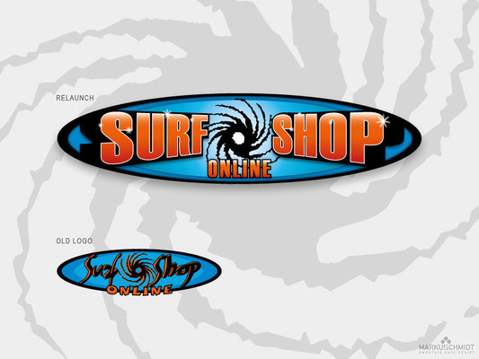 Job: Logo Relaunch, Client: Surf Shop Online, Agency: Seismo