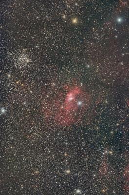 M52 et NGC7635 Bubble Nebula, 15x120s, 12 août, Ardèche, Lionel