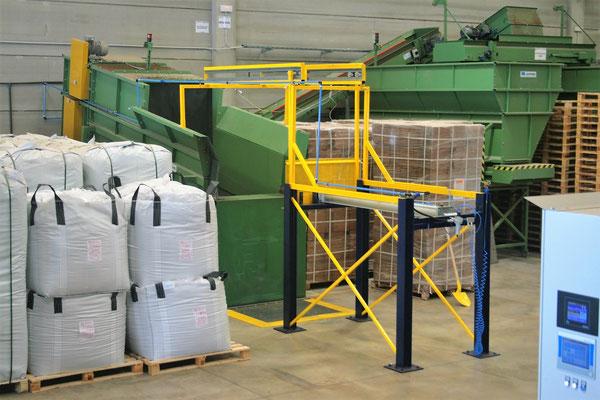 Descompresor de turba que permite enviar la turba procesada a la línea de producción.