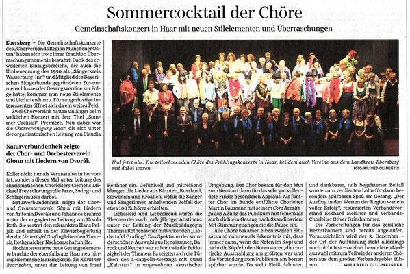 SZ 22.05.2017 – Gemeinschaftskonzert des Chorverbands Region Münchner Osten am 13.05.2017 im Bürgerhaus von Haar