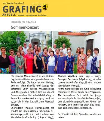 Grafing Aktuell 29.06.2018 – Ankündigung des LTG-Sommerkonzertes vom 13.07.2018