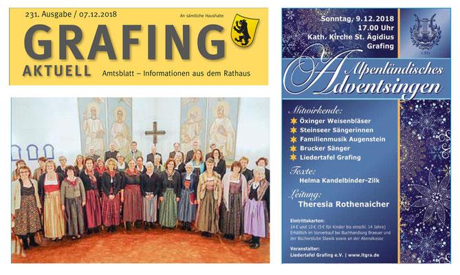 Grafing Aktuell 07.12.18 – Ankündigung des Alpenländischen Adventsingens vom 09.12.2018