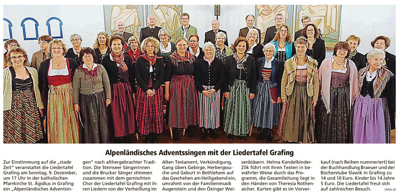 EZ 27.11.2018 – Ankündigung des Alpenländischen Adventsingens vom 09.12.2018