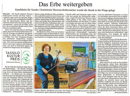 SZ 30.05.16 – unsere Chorleiterin Theresia Rothenaicher wurde für den Tassilo Kulturpreis nominiert