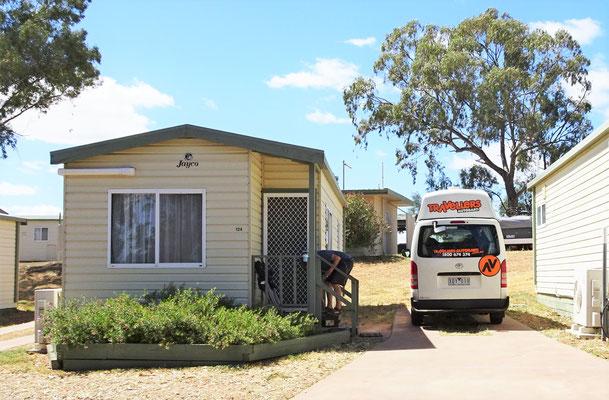 Unser Cabin in Port Augusta wegen der Kälte.