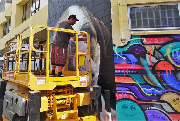 Fassadenkünstler an der Arbeit.....