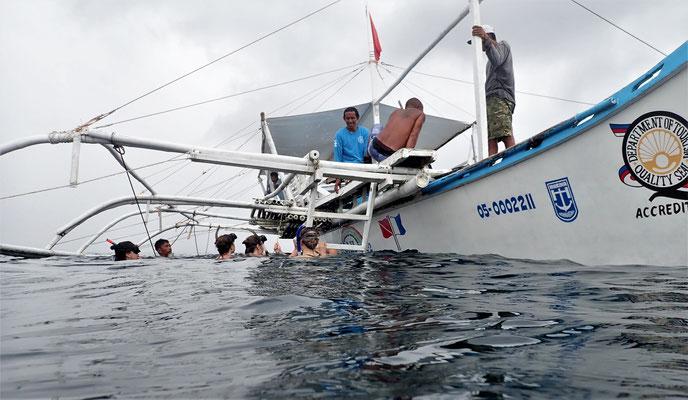 Der Bootseinstieg.