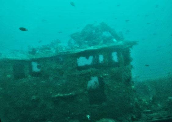 Auf 40m Tiefe liegt ein Wrack.
