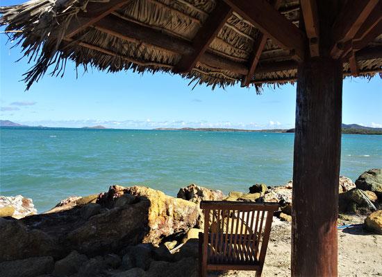 Der Blick vom Restaurant aufs Meer.