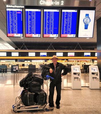 Mit viel Gepäck.....