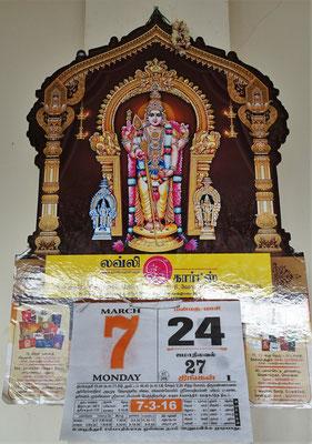 Unser Kalender ( 7 ), der Tamilkalender ( 24 ), der Moslemkalender ( 27 ), alle im März und am gleichen Wochentag.